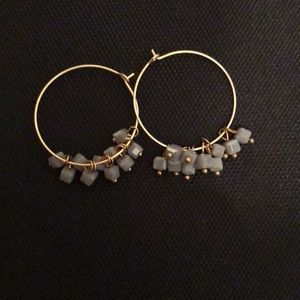 Gold wire minimalist earrings with grey beads